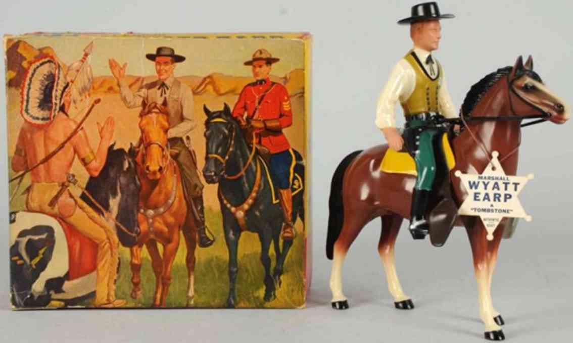 hartland 809 plastik spielzeug wyatt earp figur grabsteine auf pferd