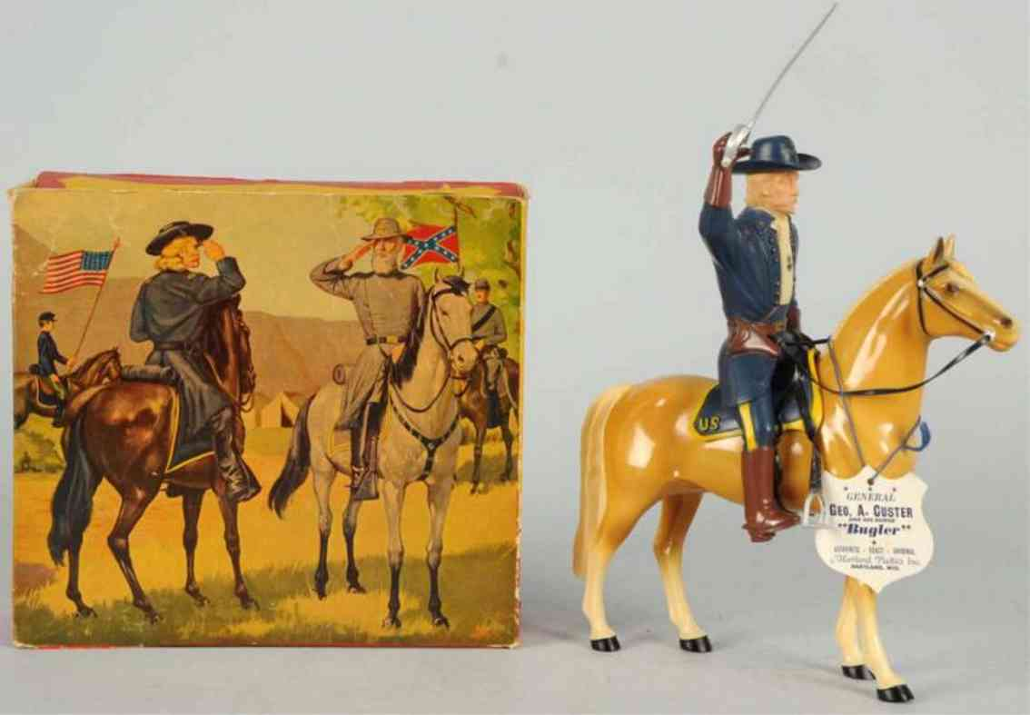 hartland 814 celluloid toy general custer figure riding bugler
