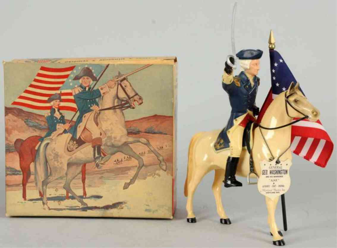 hartland 815 celluloid toy george washington figure on ajax horse