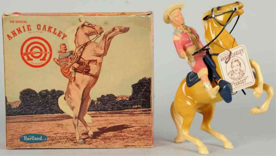 hartland 823 celluloid toy annie oakley figure on target horse
