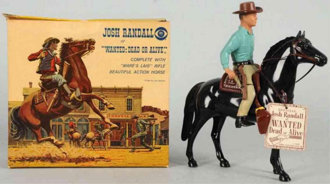 hartland 828 celluloid toy josh randall figure on horse steve mcqueen