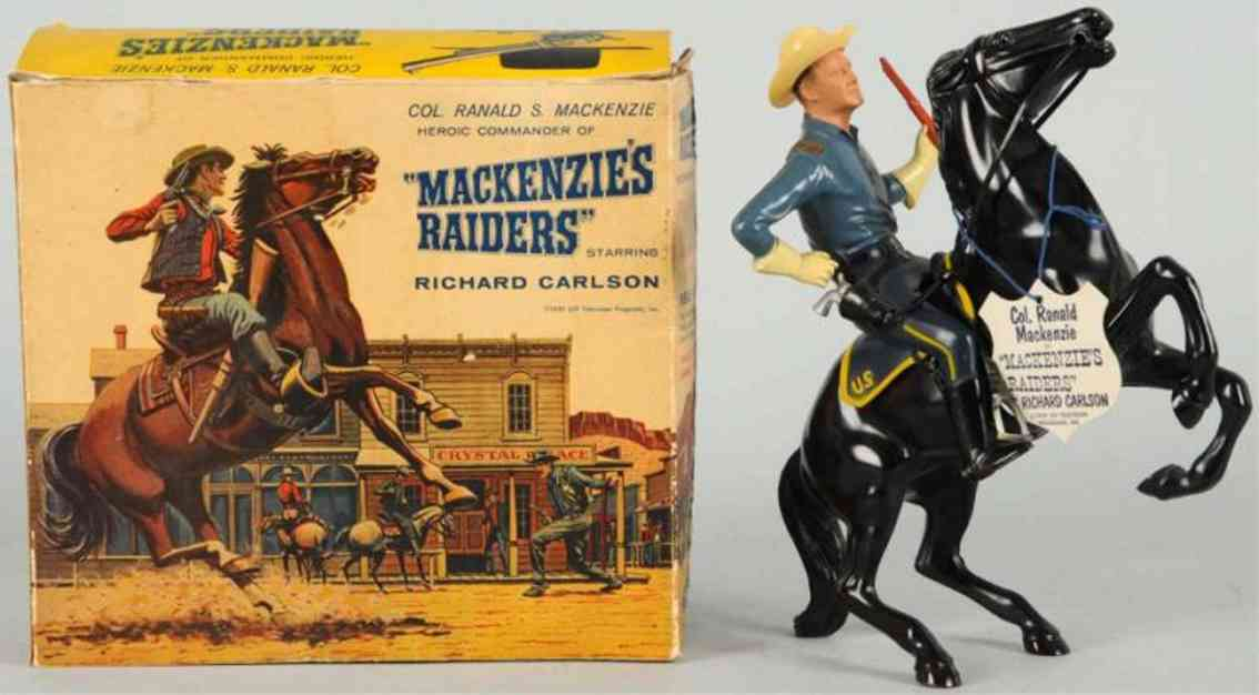 hartland 829 celluloid toy ranald mackenzie figure on horse richard carlson