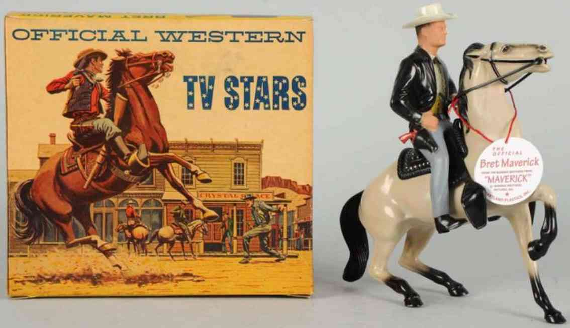 hartland 862 celluloid toy brett maverick figure on horse