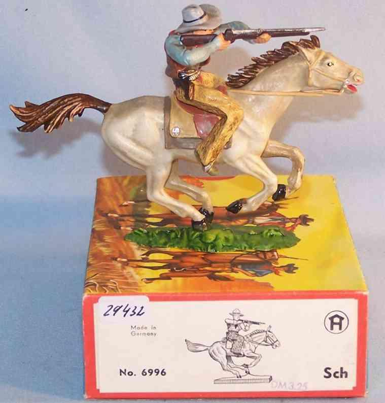 Hausser Elastolin 6996 Maßstab 1:25 Cowboy mit Gewehr und Pferd