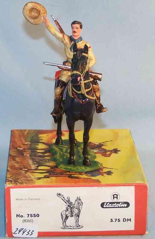 Hausser Elastolin 7550 8060 Maßstab 1:25 Old Shatterhand mit Pferd
