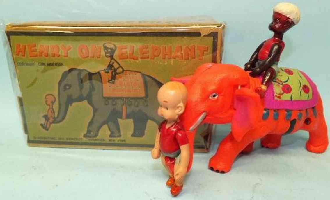 kuramochi plastik spielzeug figur henry auf einem elefanten aus plastik