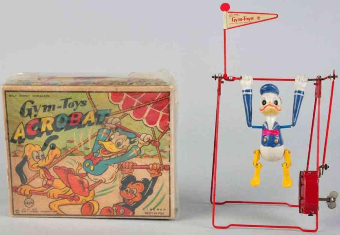 Linemar Walt Disney Schaukel mit Uhrwerk Donald Figur ist Zelluloid