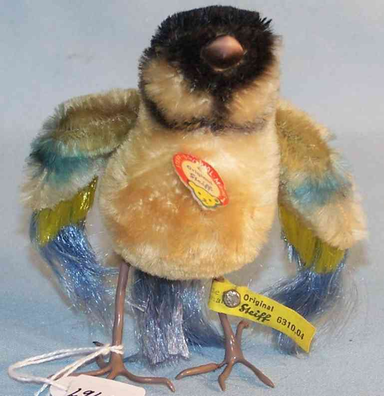 steiff 6310,04 plush animal bluetit made of mohair and wire in blue yellow and black