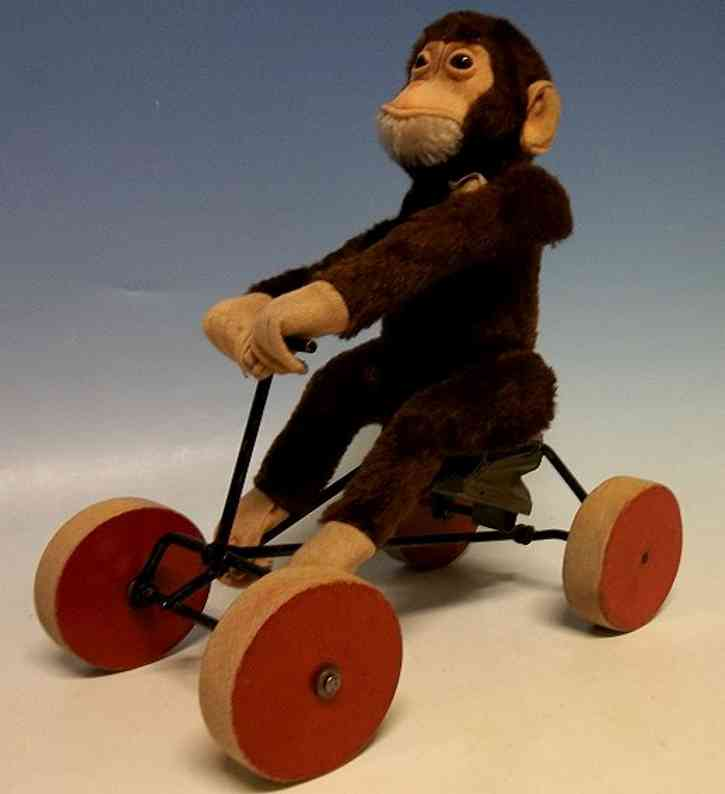 steiff plush animal monkey on vehicle tricycle record-peter