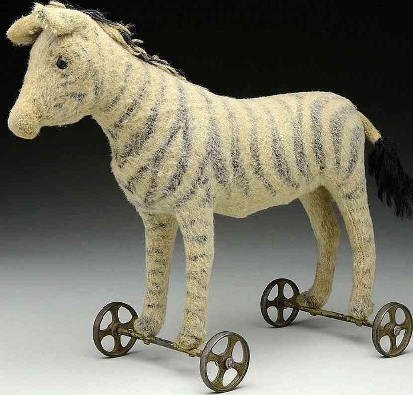 steiff pluesch tier zebra als ziehspielzeug mit raeder
