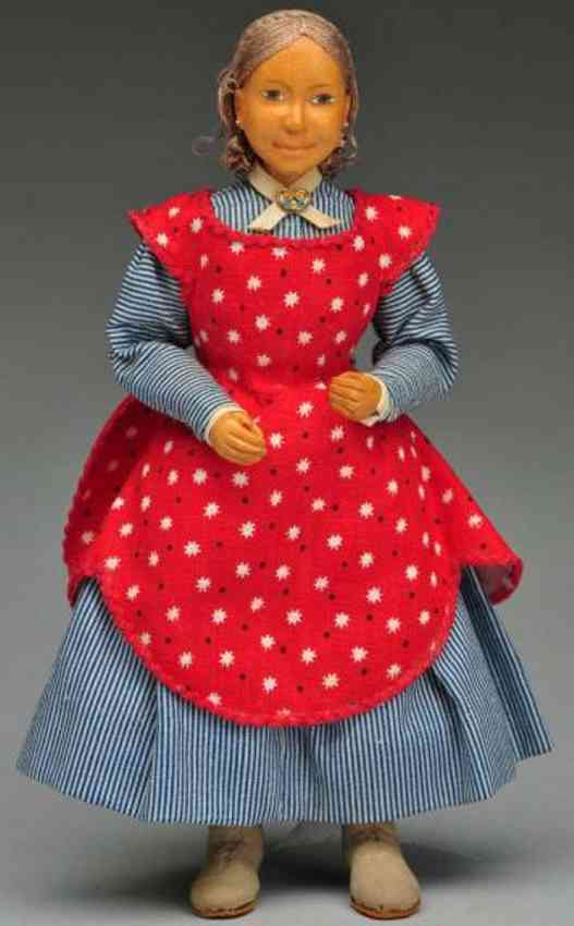 Bringloe Frances Carved wood pioneer girl artist doll