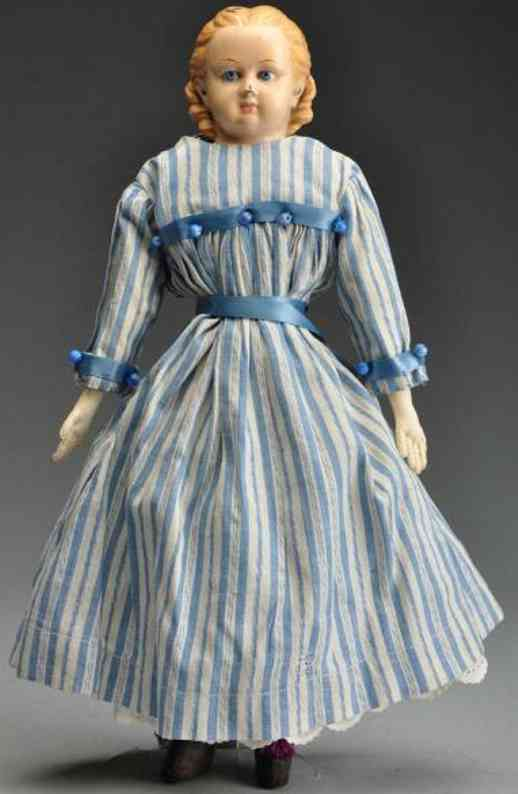 Goodyear Painted rubber shoulder head doll and cloth body