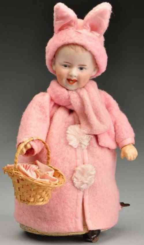 Heubach Gebr. 7604 Mechanical bisque socket head doll
