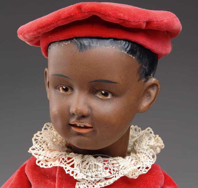Heubach Gebr. 7620 Brauner Charakterjunge Porzellankurbelkopfpuppe