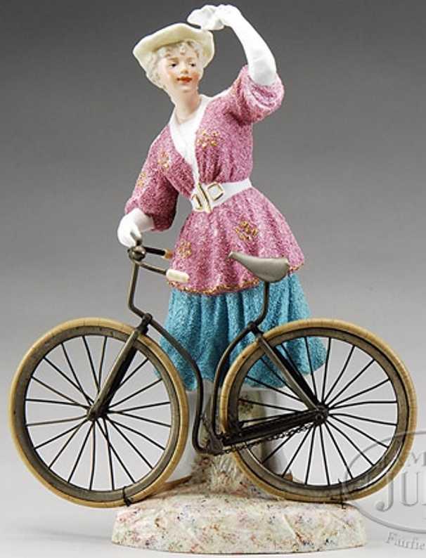 Heubach Gebr. 7652 Puppe Mädchen mit Fahrrad