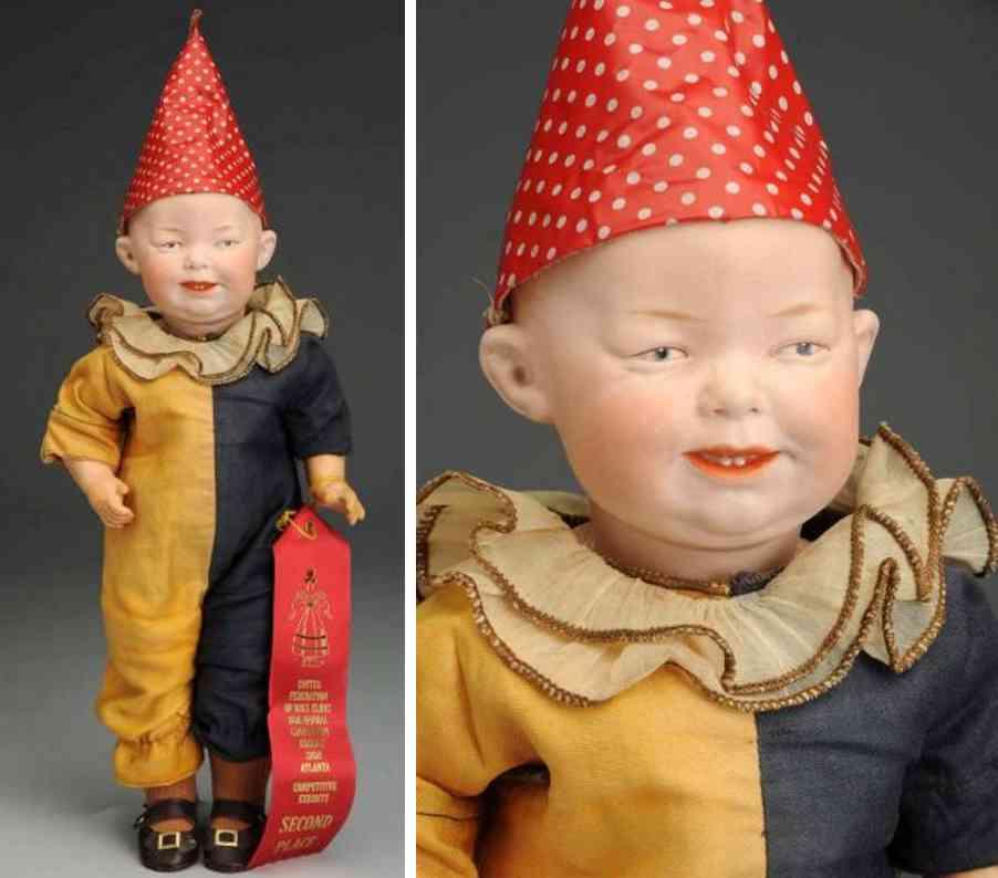 heubach gebr 7746 bisque socket head character doll clown