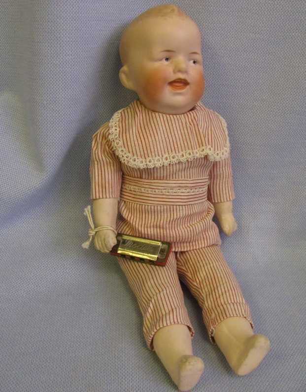 Heubach Gebr. 8306 2/0 D Doll Character Boy with harmonica