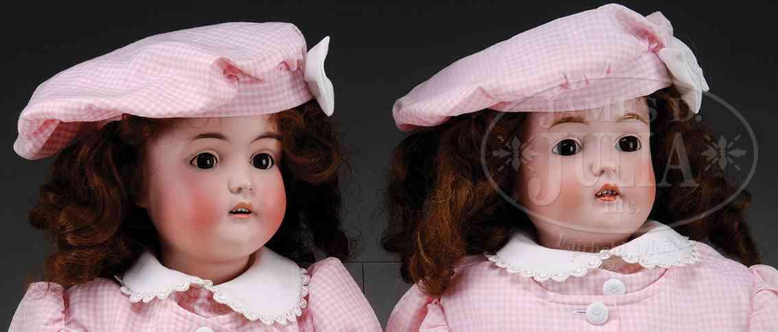 kestner jdk 15 1/2 171 puppen zwillinge eine hat braune glasschlafaugen und die andere bra