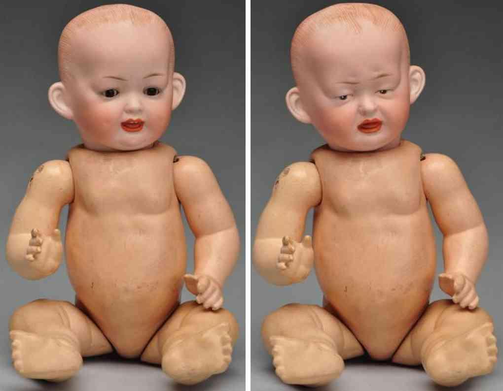 Kley & Hahn 159 Porzellankubelkopfpuppe mit zwei Gesichtern