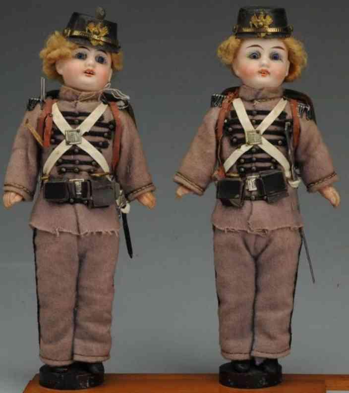 kuhnlenz gebruder ag 56 17 pair of twin prussian soldier bisque socket head dolls
