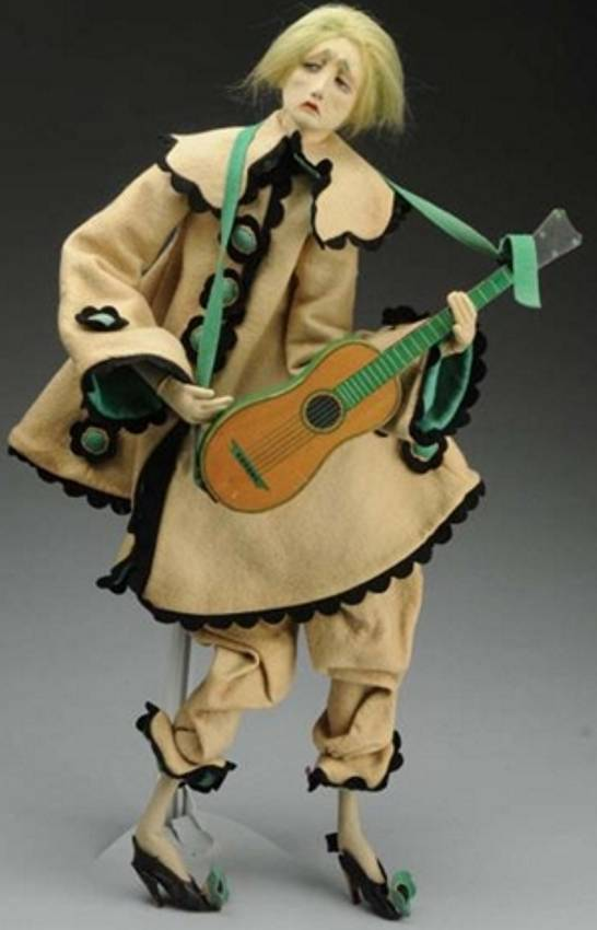 lenci man with guitar  felt doll boudoir style with long limbs