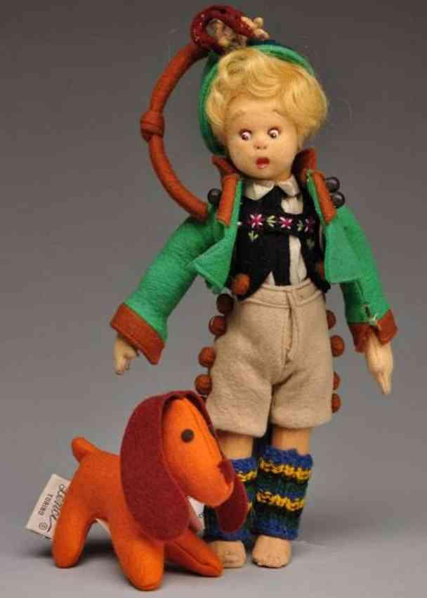 Lenci Puppe Junge mit Hund