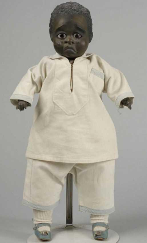 Schönau & Hoffmeister Rex 1912 Puppen Schwarze Charakterpuppe mit Kurbelkopf