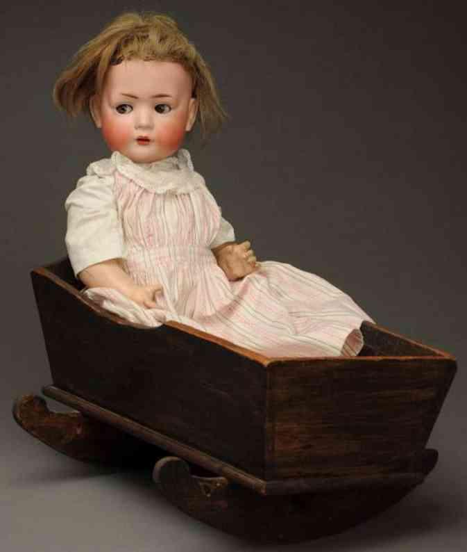 schmidt bruno bsw bisque socket head doll character baby with cradle