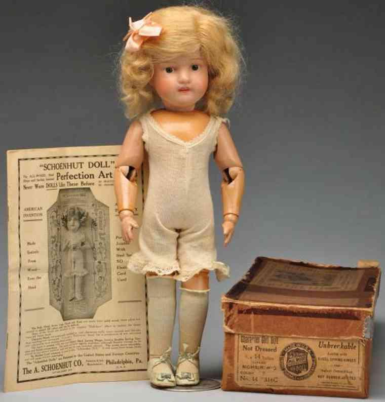 Schoenhut 14 316C Fräulein Dolly aus Holz mit Federgelenkkörprer