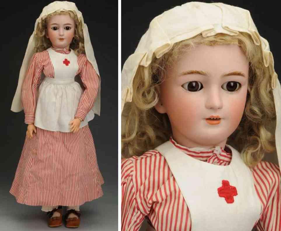 simon & halbig 1159 9 1/2 porzellankurbelkopfpuppe krankenschwester