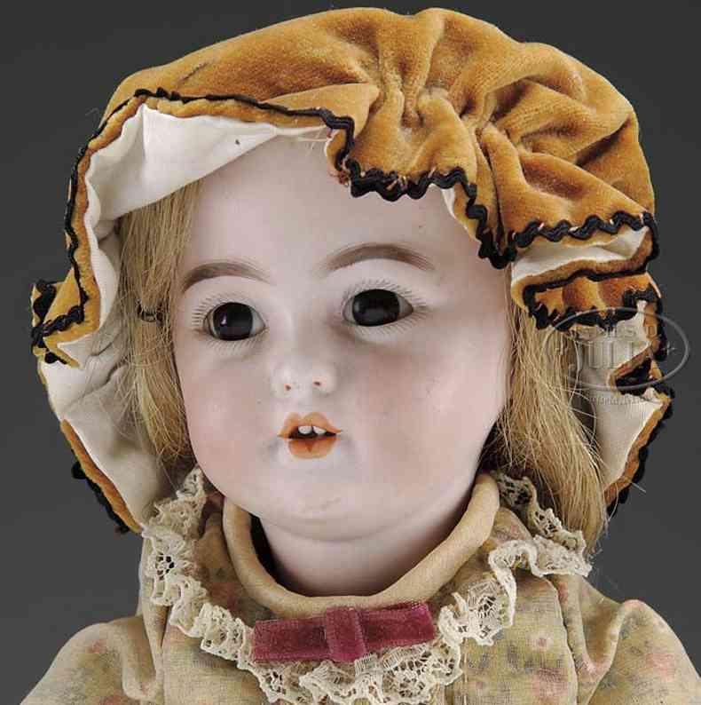 simon & halbig 1279 5 (31) puppen charakterpuppe mit braunen glasschlaufaugen, offenem mund ob