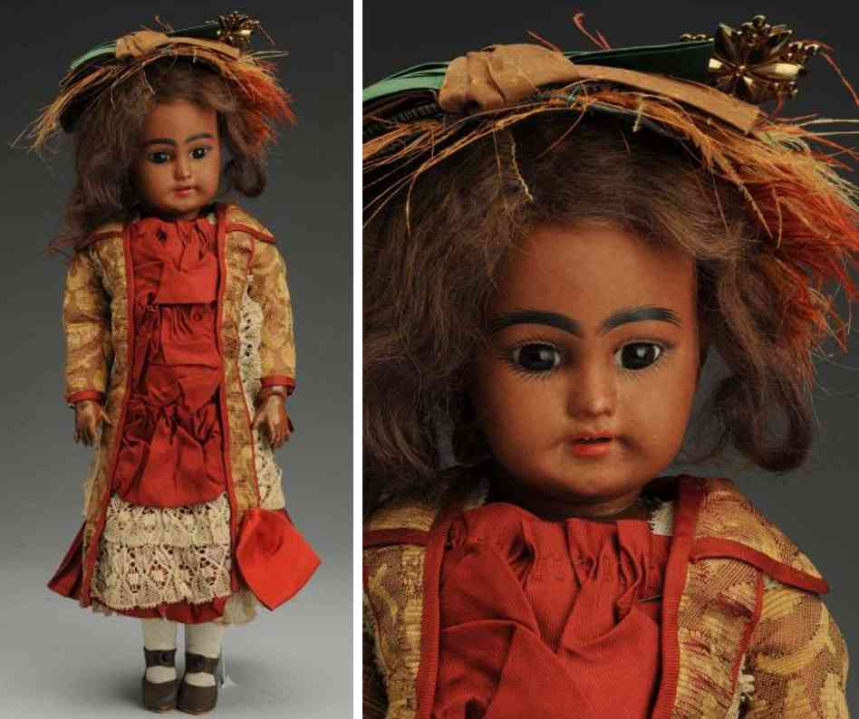 simon & halbig 7 1/2 1009 bisque socket head black doll