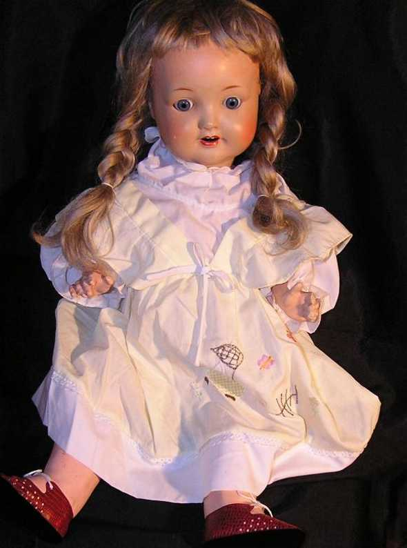 sonneberger porzellanfabrik 2966/11 55 dolls girl with crank head, blue movable sleep eyes, open mouth wi
