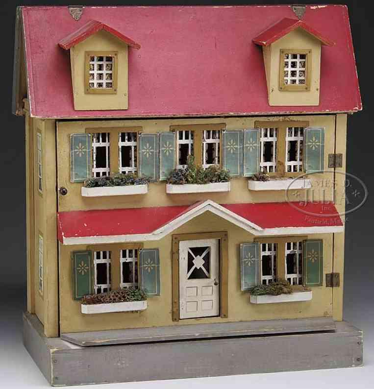 schoenhut puppenhaus prachtvolles haus auf grauer basis mit hellrauner außenseite