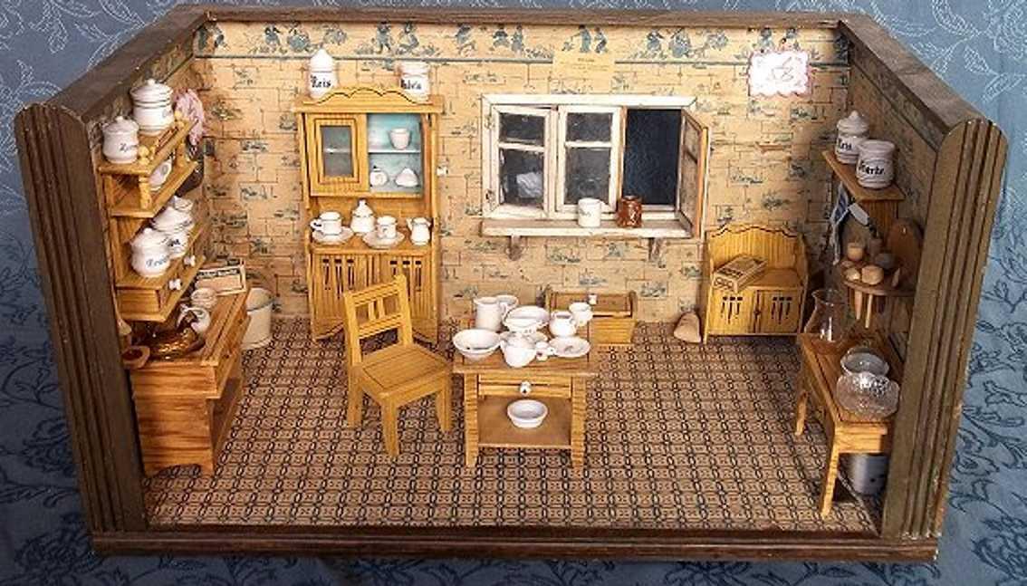 unknown puppenhaus puppenküche komplett eingerichtet mit möbeln, geschirr und r