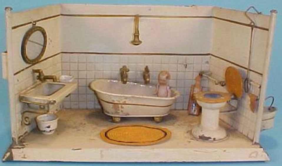 Badezimmer mit Badewanne mit Dusche Becken und Toilette