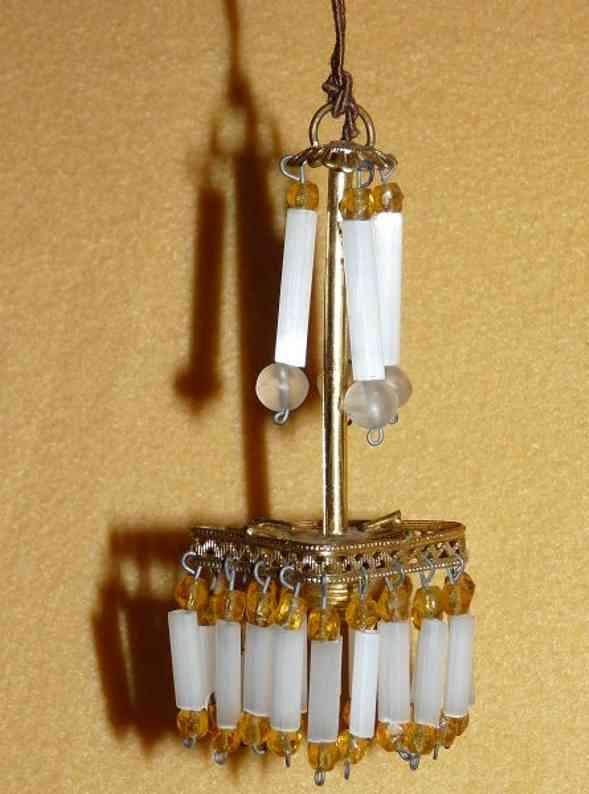 erhard & sohne puppenstubenzubehoer jugendstil lampe elektrisch aus goldblech mit glasperlen und