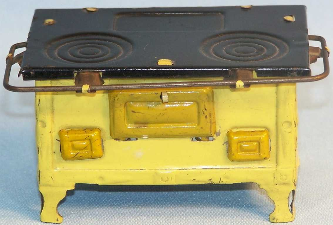 kellermann 137 dollhouse accessories stove without dishes in yellow and blackly hand-coated, lid
