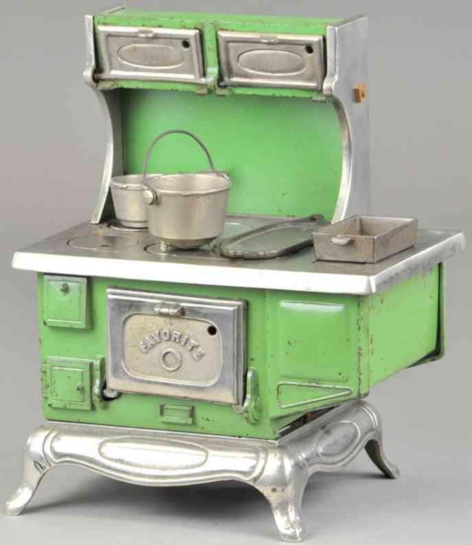 kenton hardware co favorite stove cast iron green nickel plated