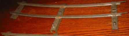 bing 10/71/1 spielzeug eisenbahn schiene strom ganze gebogene schiene aus weißblech mit 3 schwellen