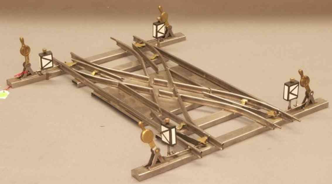 bing 10/727/0 spielzeug eisenbahn schiene strom uhrwerk parallelkreuzweiche mit 4 laternen und 4 stellhebel