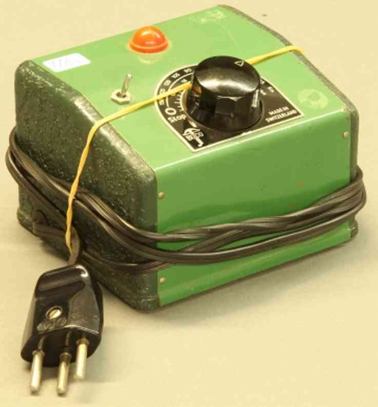 buco bucherer 8595 railway toy rail power transformer 220v/30va in green with knob and system warning