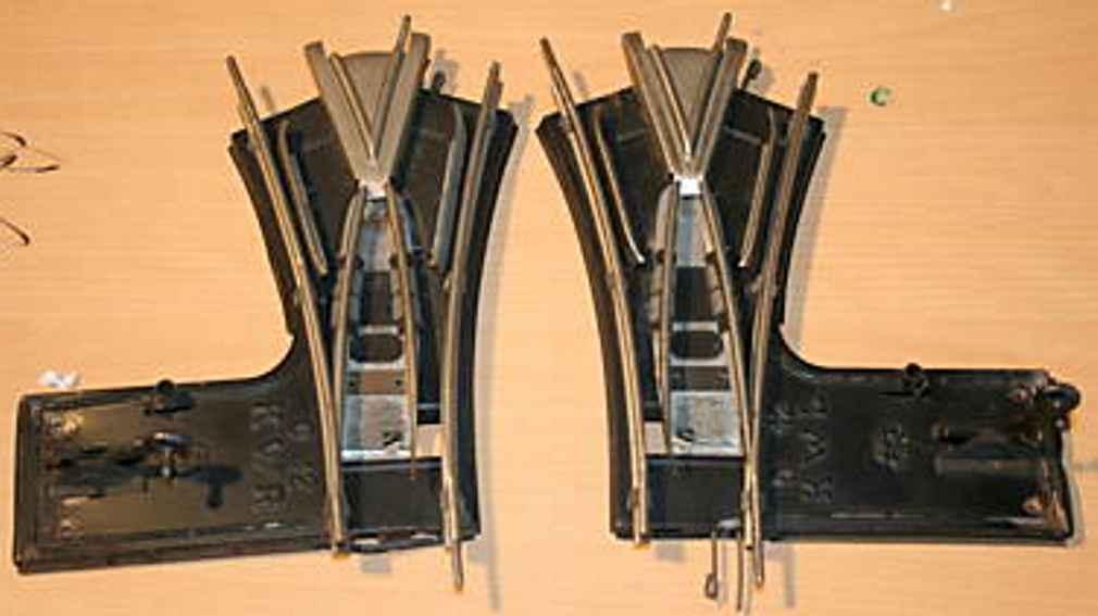 maerklin 1610 KW spielzeug eisenbahn schiene strom 12er uhrwerk weichen (y-weiche) mit stellhebel