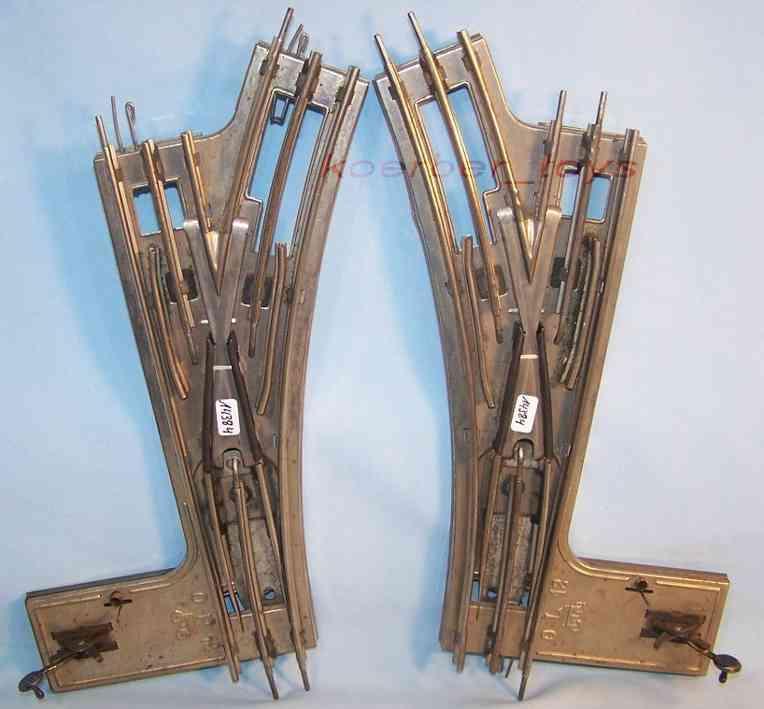 maerklin 1610 WB spielzeug eisenbahn schiene strom handweichenpaar, je 1 linke und 1 recht weiche, ohne laterne