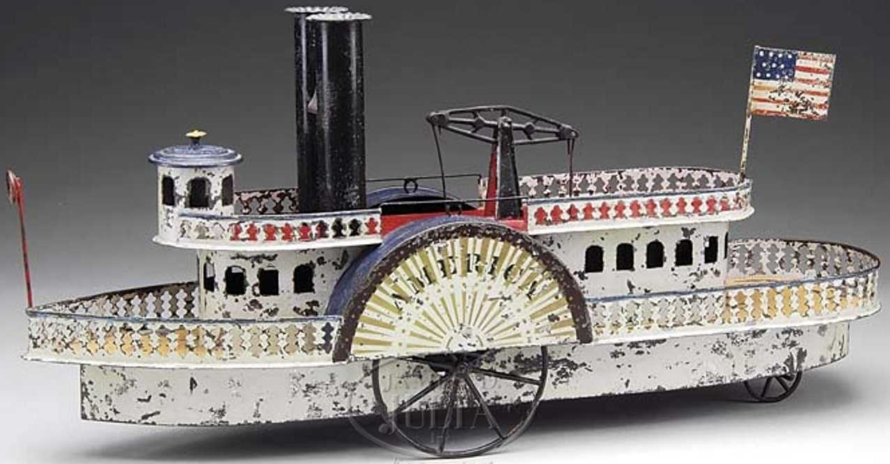 althof bergmann & co tin toy ship america paddle wheel river boat