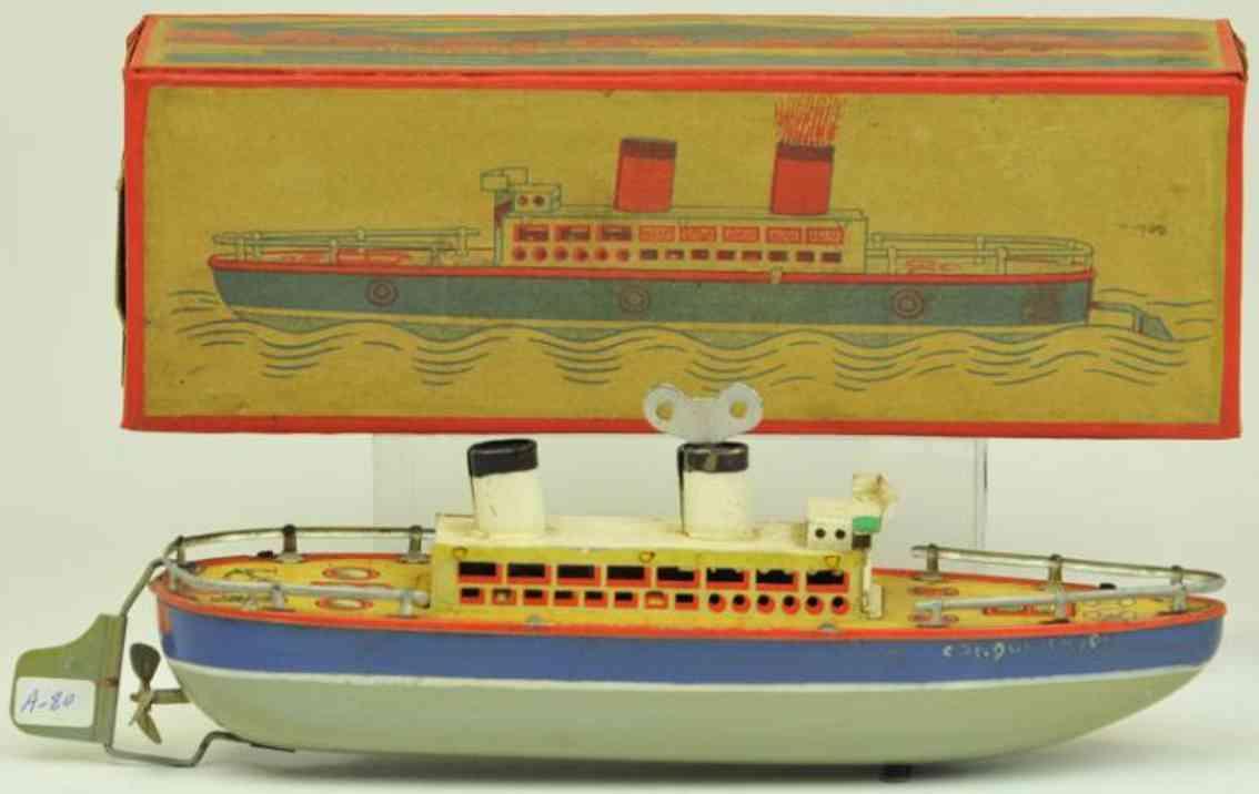arnold 1644 blech spielzeug schiff ozeandampfer uhrwerk grau blau