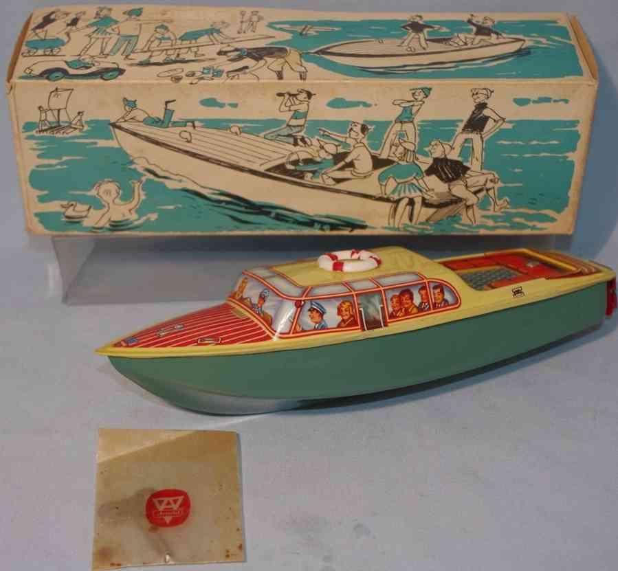 arnold 1940 blech spielzeug ausflugsboot clockwork lifebelt