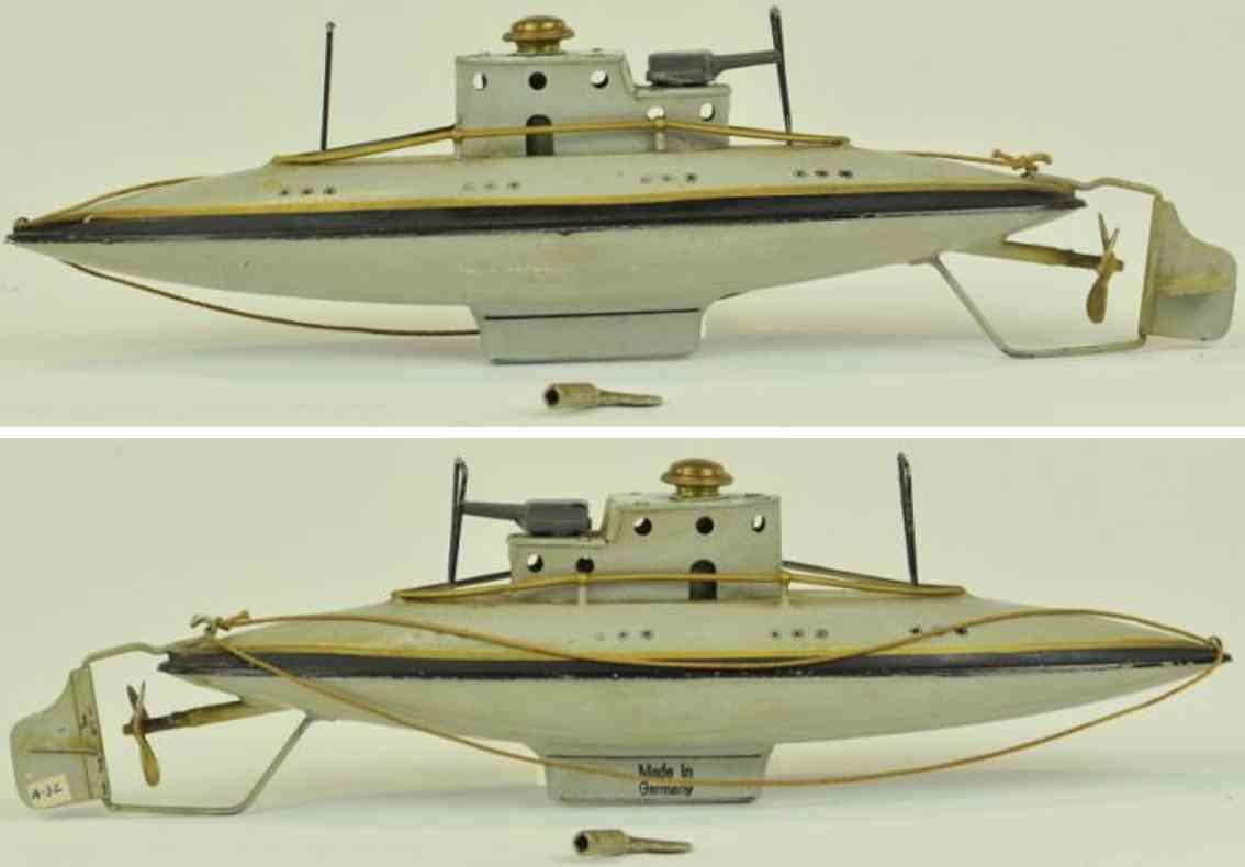 arnold 2003 blech spielzeug tauchendes u-boot uhrwerk grau