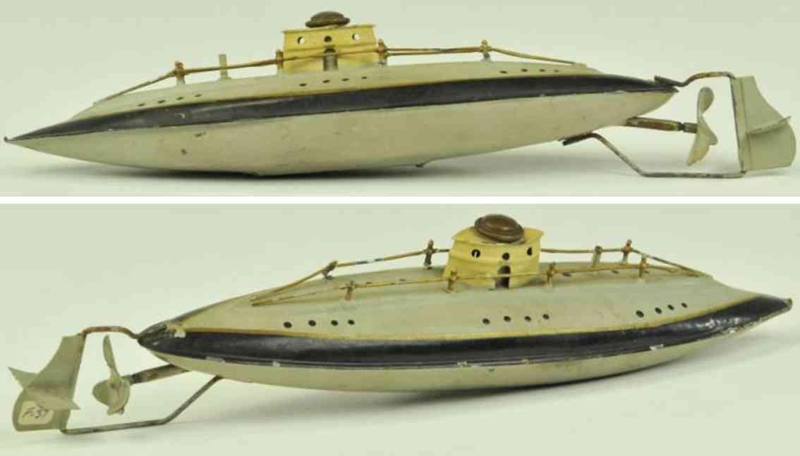 arnold 2004 blech spielzeug u-boot grau uhrwerk
