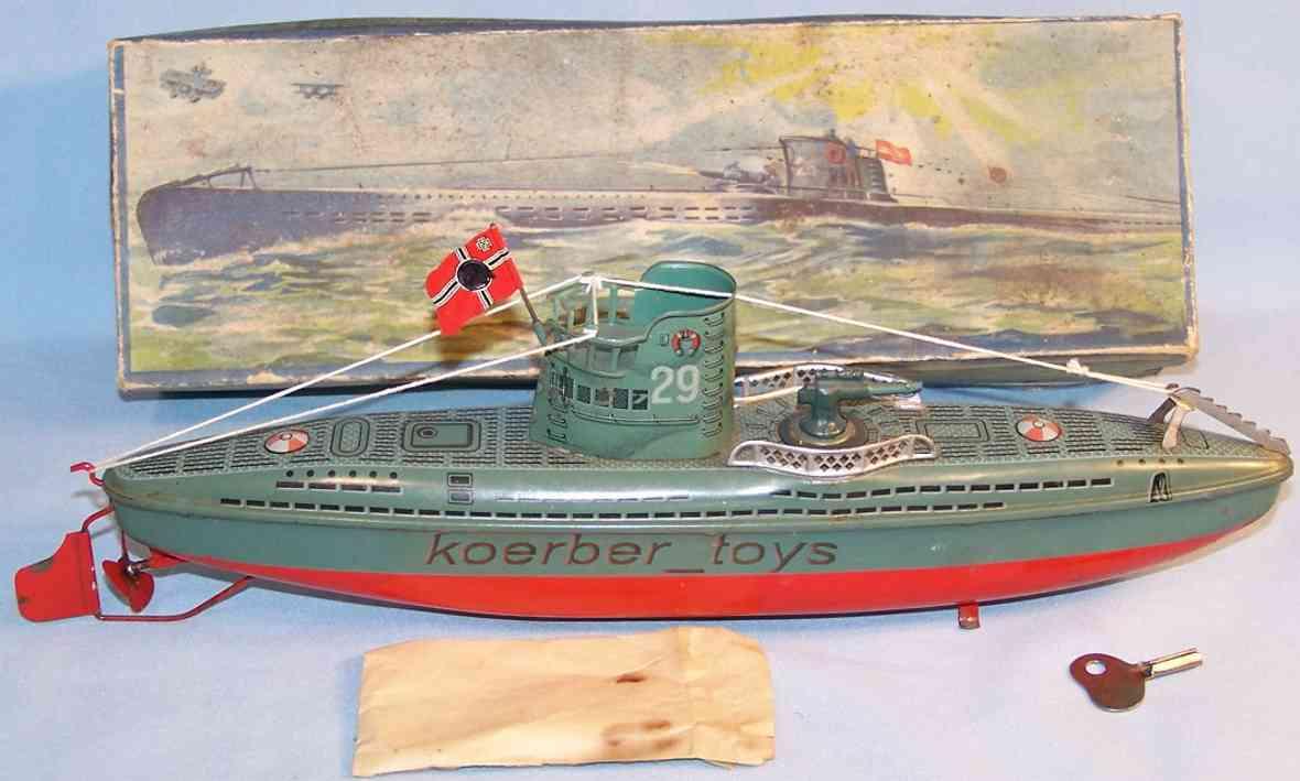 arnold 2005 blech spielzeug u-boot u-29 uhrwerk